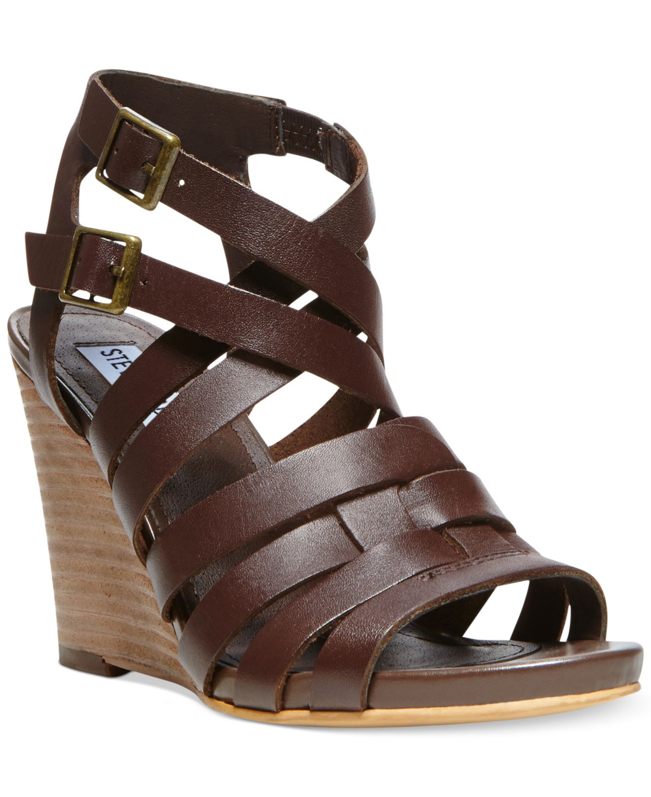 Lyst Steve Madden Venis Caged Wedge Sandals In Brown