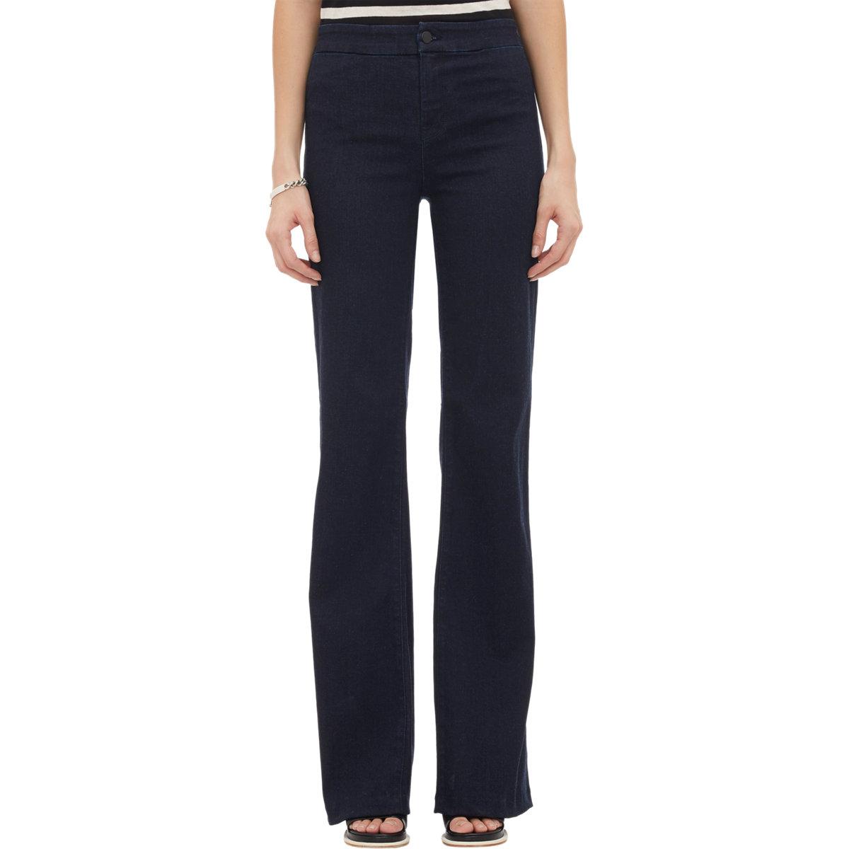 j brand blue tailored high rise flared jeans lyst. Black Bedroom Furniture Sets. Home Design Ideas