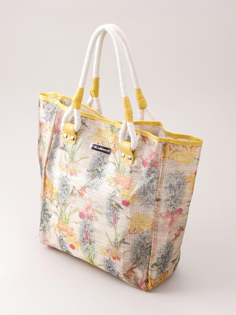 Lyst - Blue Man Floral Print Tote Bag In Natural