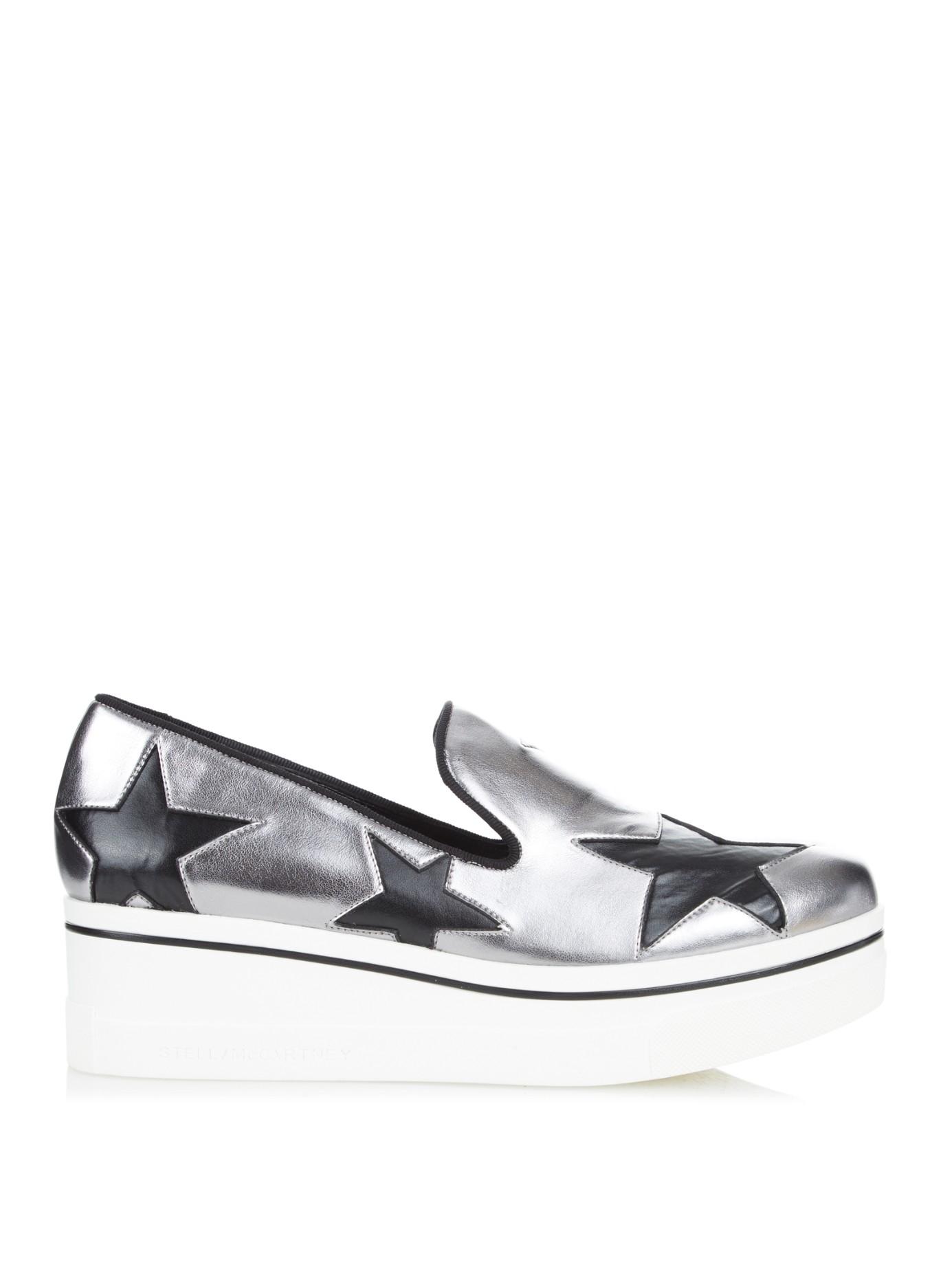 80fa81b8f09 Stella McCartney Binx Metallic Faux-leather Flatform Loafers in ...