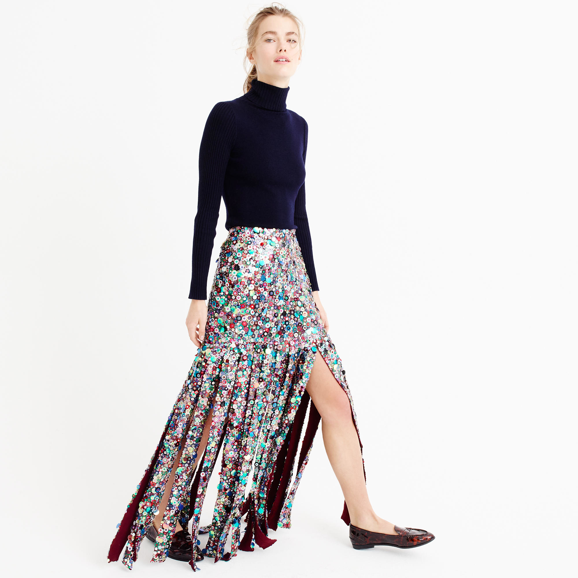 J.crew Collection Sequin Maxi Skirt in Blue | Lyst