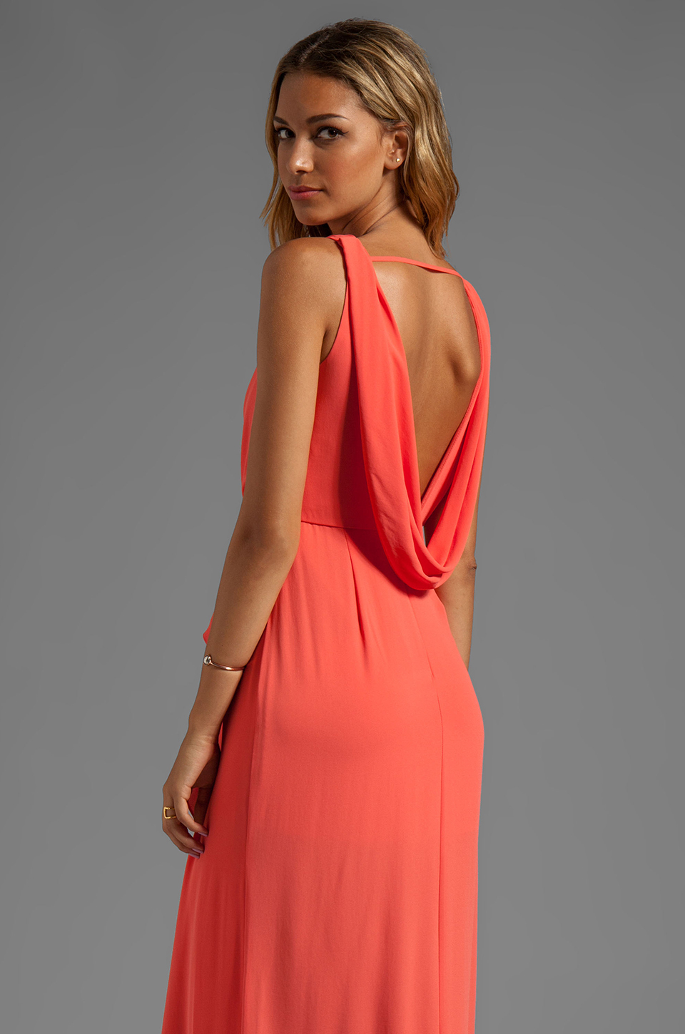 BCBGMAXAZRIA Drape Neck Maxi Dress in Coral in Red - Lyst