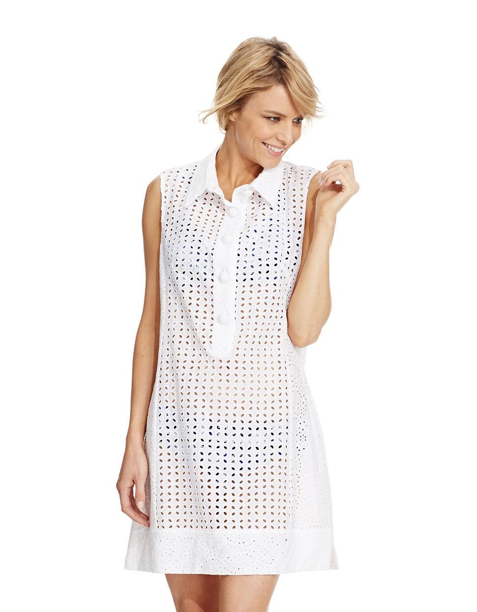 3e0a62bb82 Nanette Lepore Eyelet Cover Up Swim Dress in White - Lyst