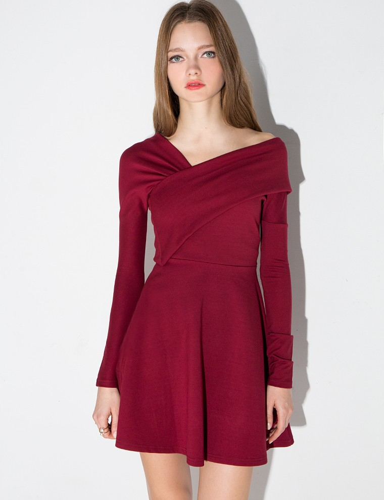 46e14274ab Lyst - Pixie Market Burgundy Stretch Off The Shoulder Skater Dress ...