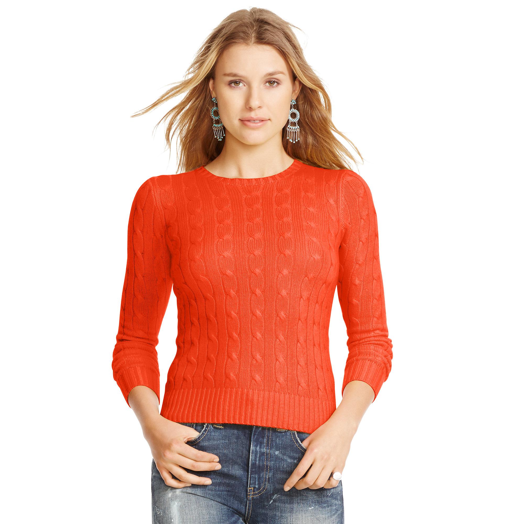 Polo Ralph Lauren Slim Cable Cashmere Sweater In Orange
