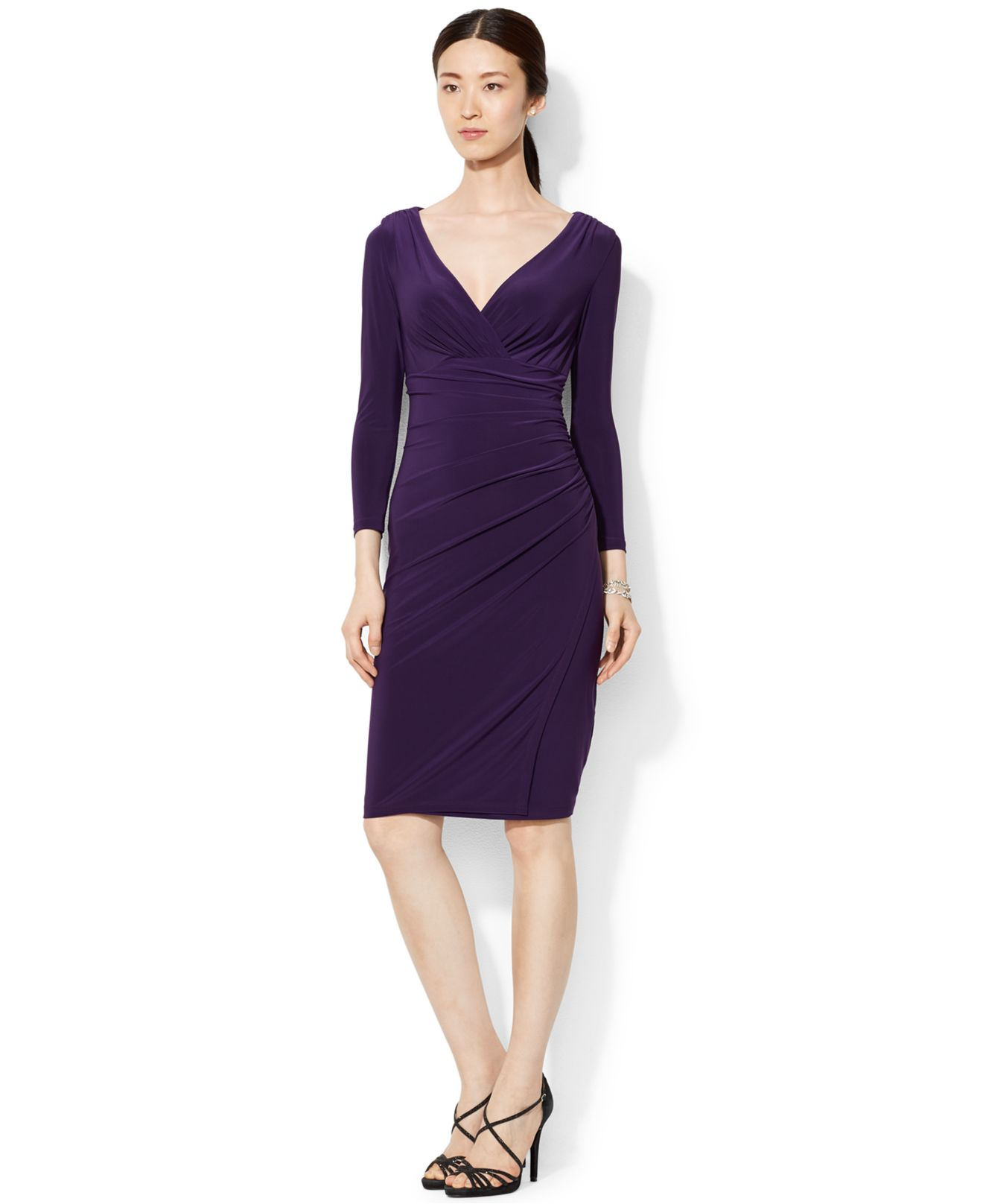 Lyst Lauren By Ralph Lauren Long Sleeve Faux Wrap Sheath