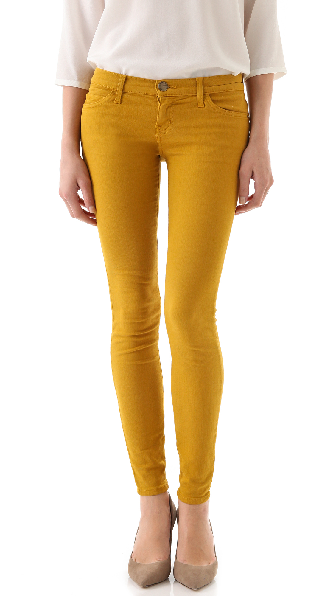 Lyst Current Elliott The Ankle Skinny Jeans In Yellow
