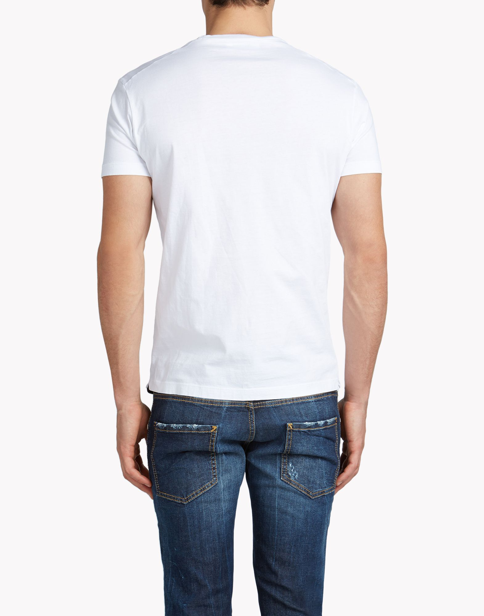 Dsquared t shirt in white for men lyst for Lands end logo shirts