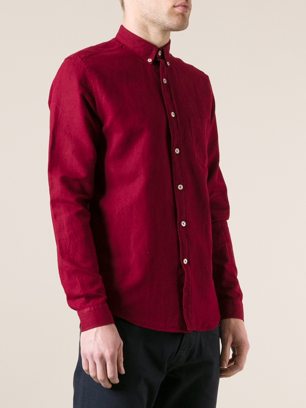 Ami Button Down Shirt in Red for Men | Lyst