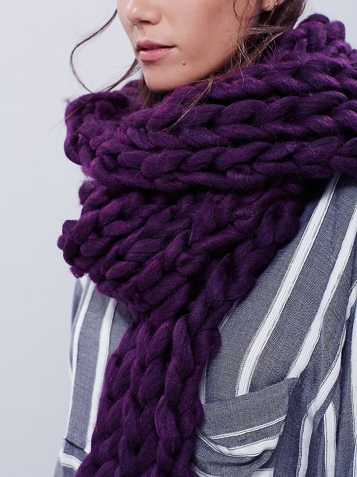 free womens maggie maye chunky knit scarf in purple
