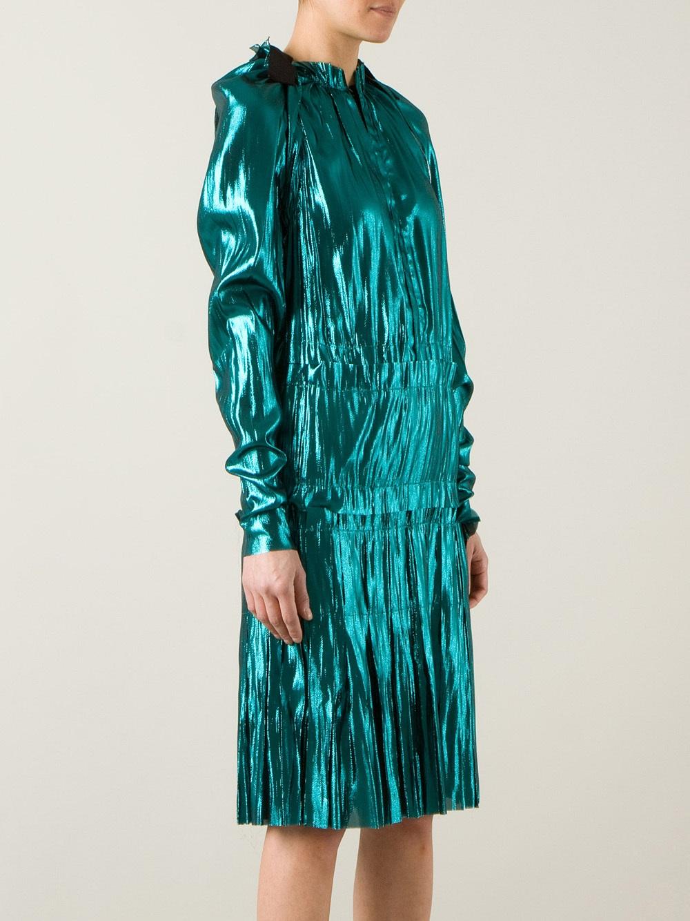 Lanvin Woman Ruffled Metallic Printed Velvet Dress Petrol Size 40 Lanvin Get To Buy Sale Online Factory Outlet Sale Online WcMB0k