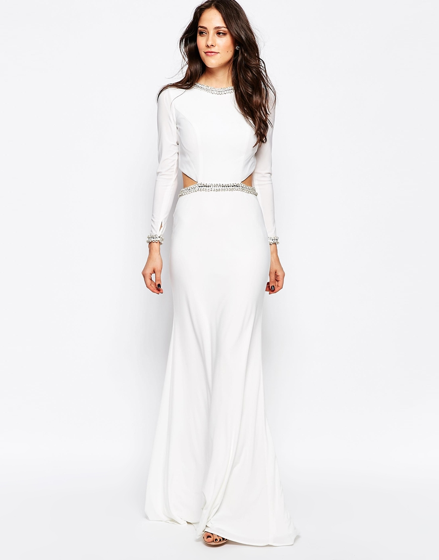 Lyst - Forever Unique Tiara Long Sleeve Maxi Dress With Cut Outs And ...