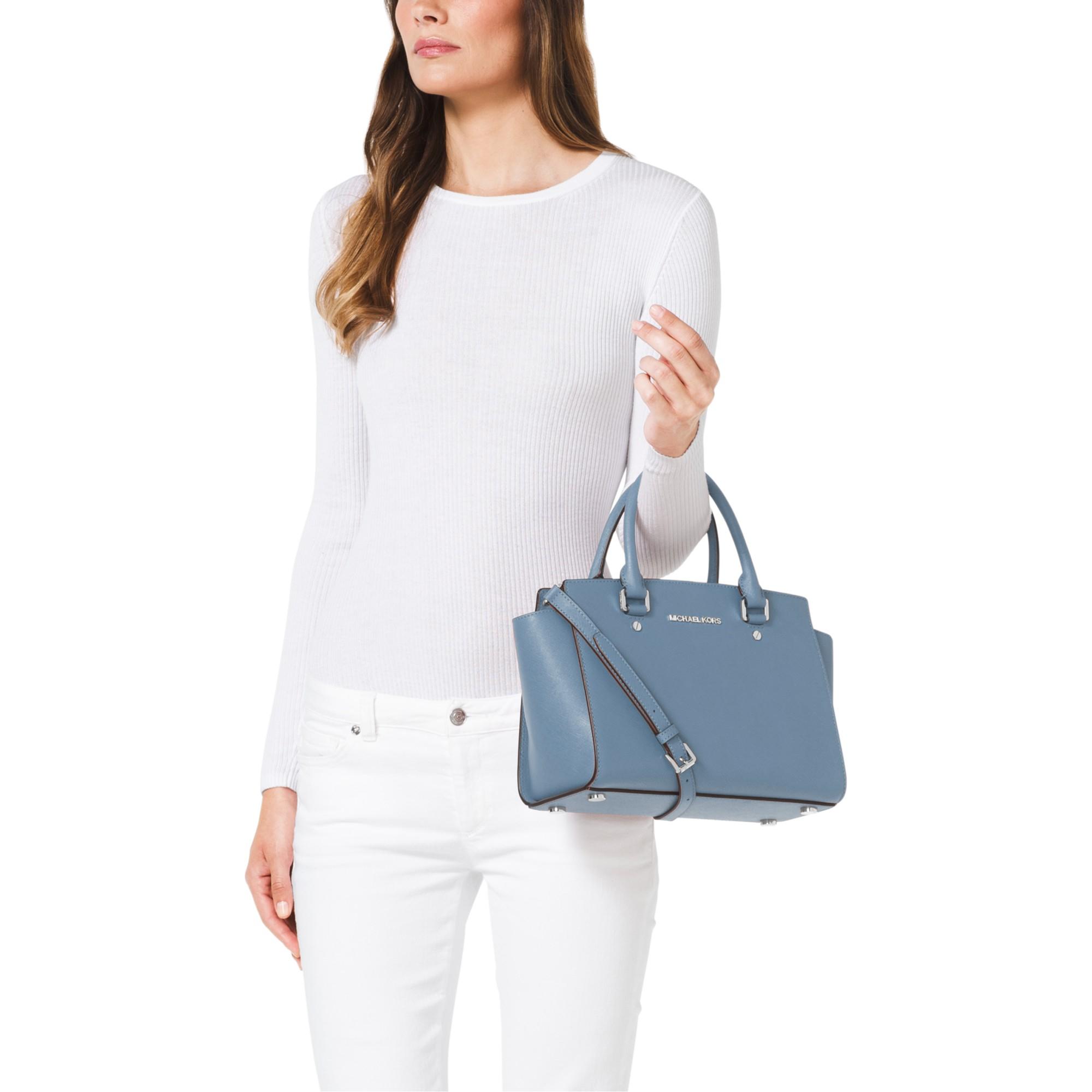 d77b133772 MICHAEL Michael Kors Selma Medium Top Zip Leather Satchel in Blue - Lyst