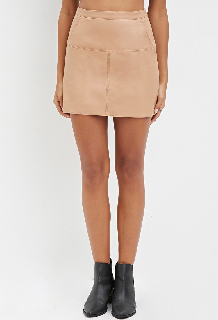 Beige leather skirt forever 21 – Fashionable skirts 2017 photo blog
