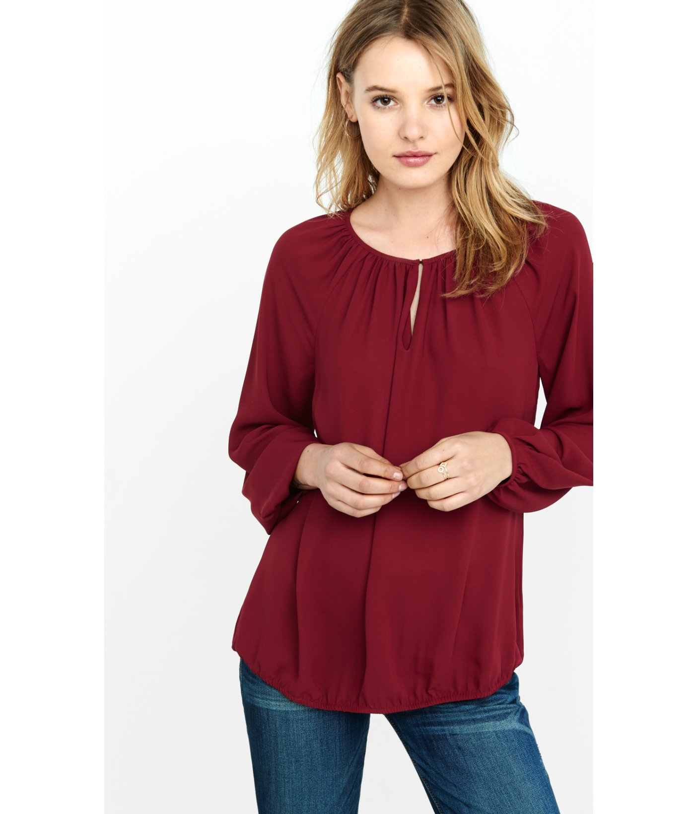 Lyst Express Banded Bottom Blouse In Purple