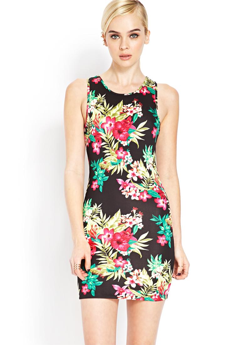 de3b21726dd Lyst - Forever 21 Tropical Floral Bodycon Dress