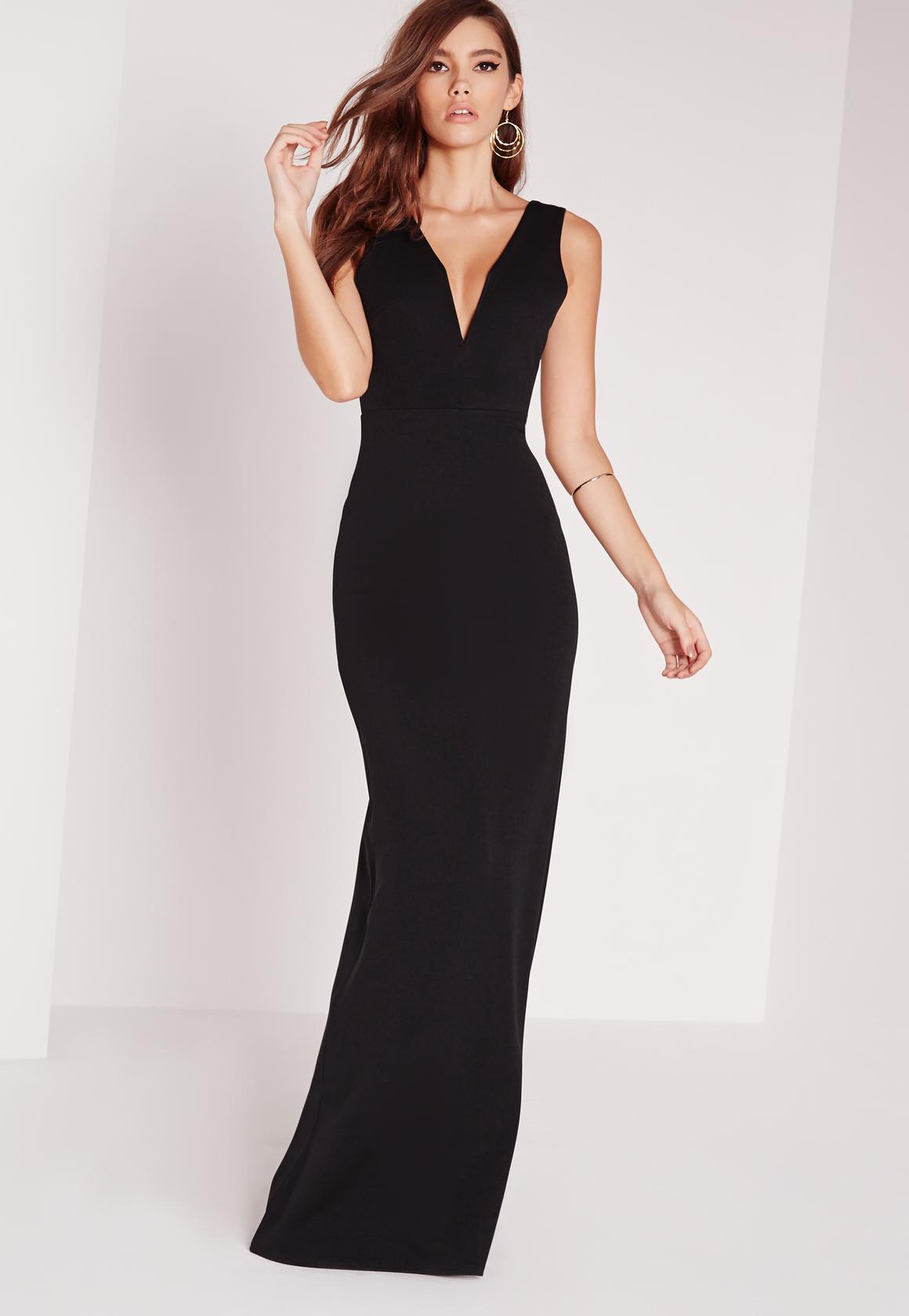 Missguided V Plunge Maxi Dress Black In Black Lyst