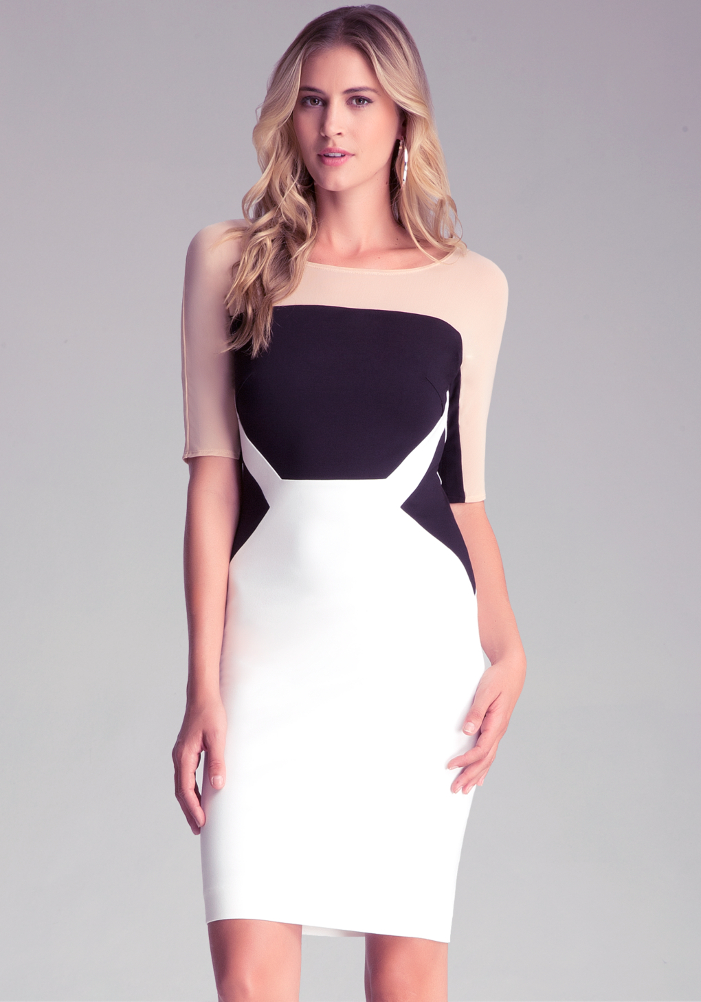 Lyst Bebe Colorblock Midi Dress