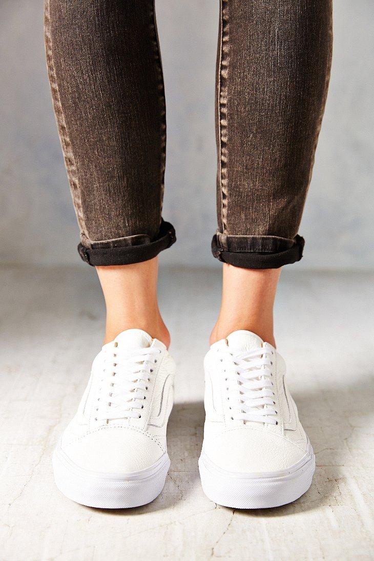 Lyst - Vans Old Skool Premium Leather Low-Top Women S Sneaker in White d9a2f3d9da
