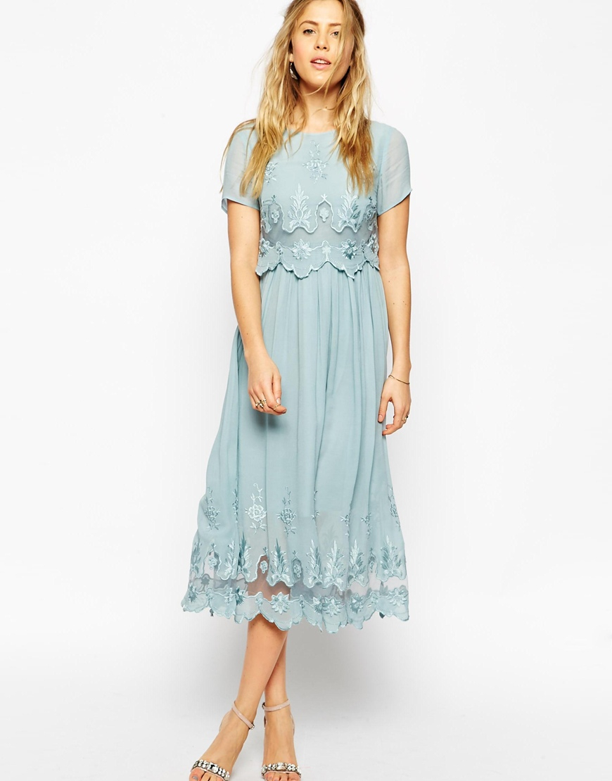 Lyst - Asos Premium Vintage Dress With Double Layer And Embroidery ...