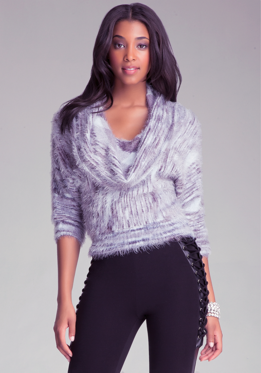 Lyst Bebe Space Dye Cowl Neck Sweater In Metallic