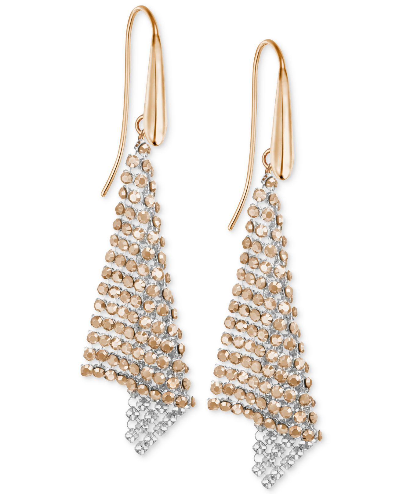 Lyst Swarovski Rose Goldtone Crystal Mesh Drop Earrings in Pink