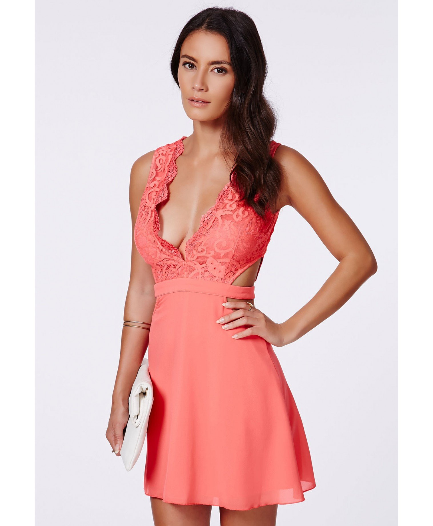 57c4d5d349 Missguided Roksy Coral Lace Plunge Cut Out Dress in Red - Lyst