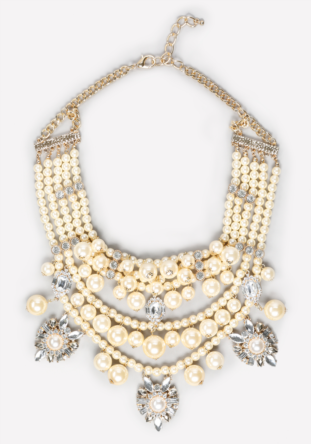 bebe pearlescent bib necklace in white lyst