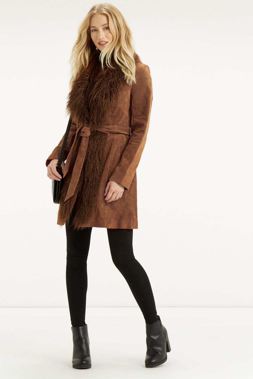 Oasis Suede Sheepskin Coat in Brown   Lyst