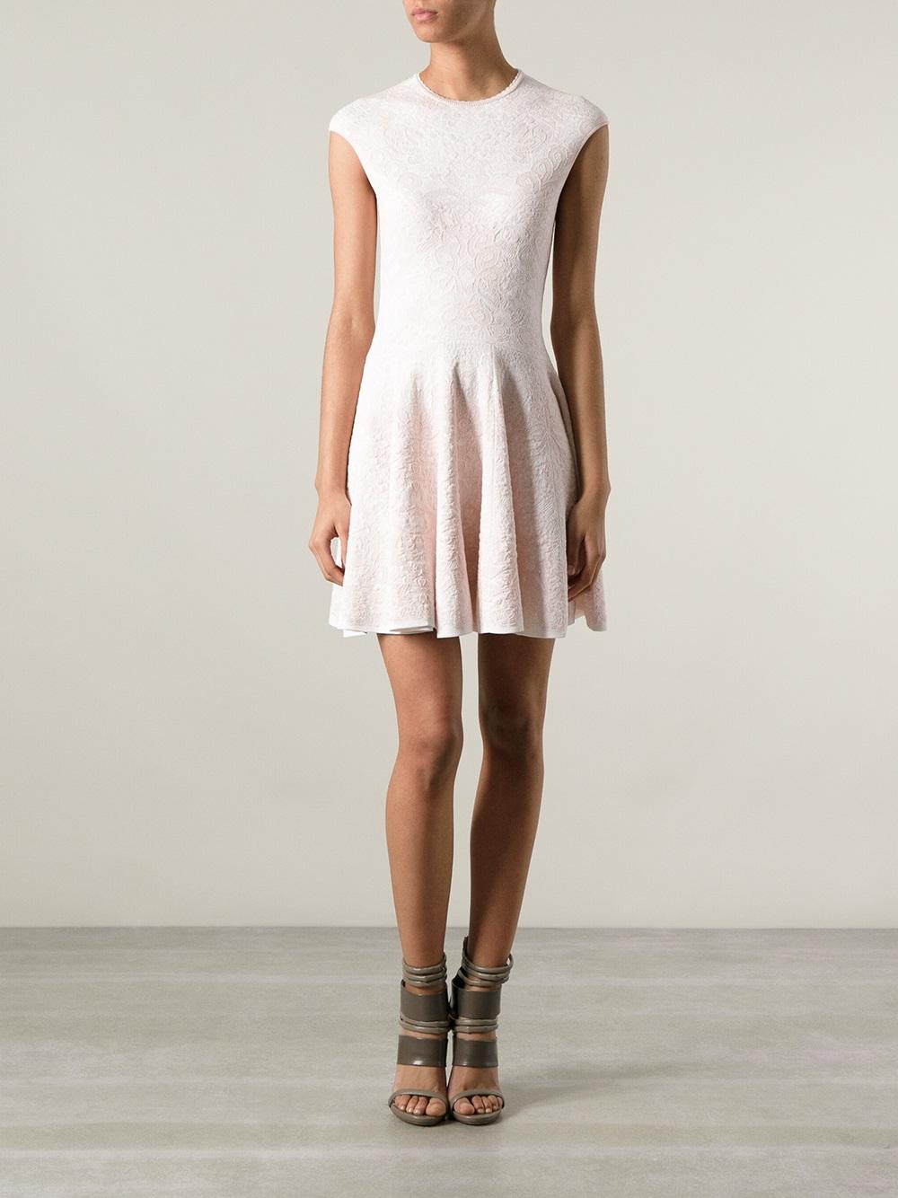 Lyst Alexander Mcqueen Floral Jacquard Dress In Pink