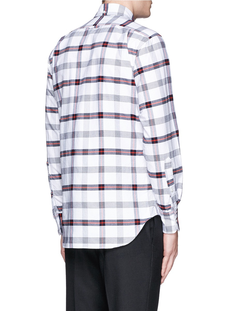 lyst thom browne glen plaid cotton oxford shirt in white for men. Black Bedroom Furniture Sets. Home Design Ideas