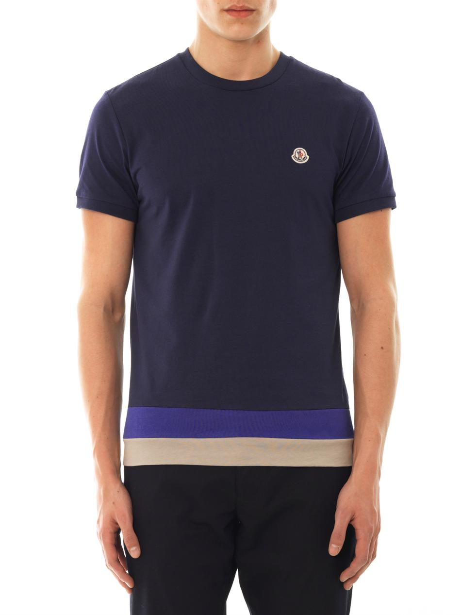 moncler crewneck cotton tshirt in blue for men lyst. Black Bedroom Furniture Sets. Home Design Ideas