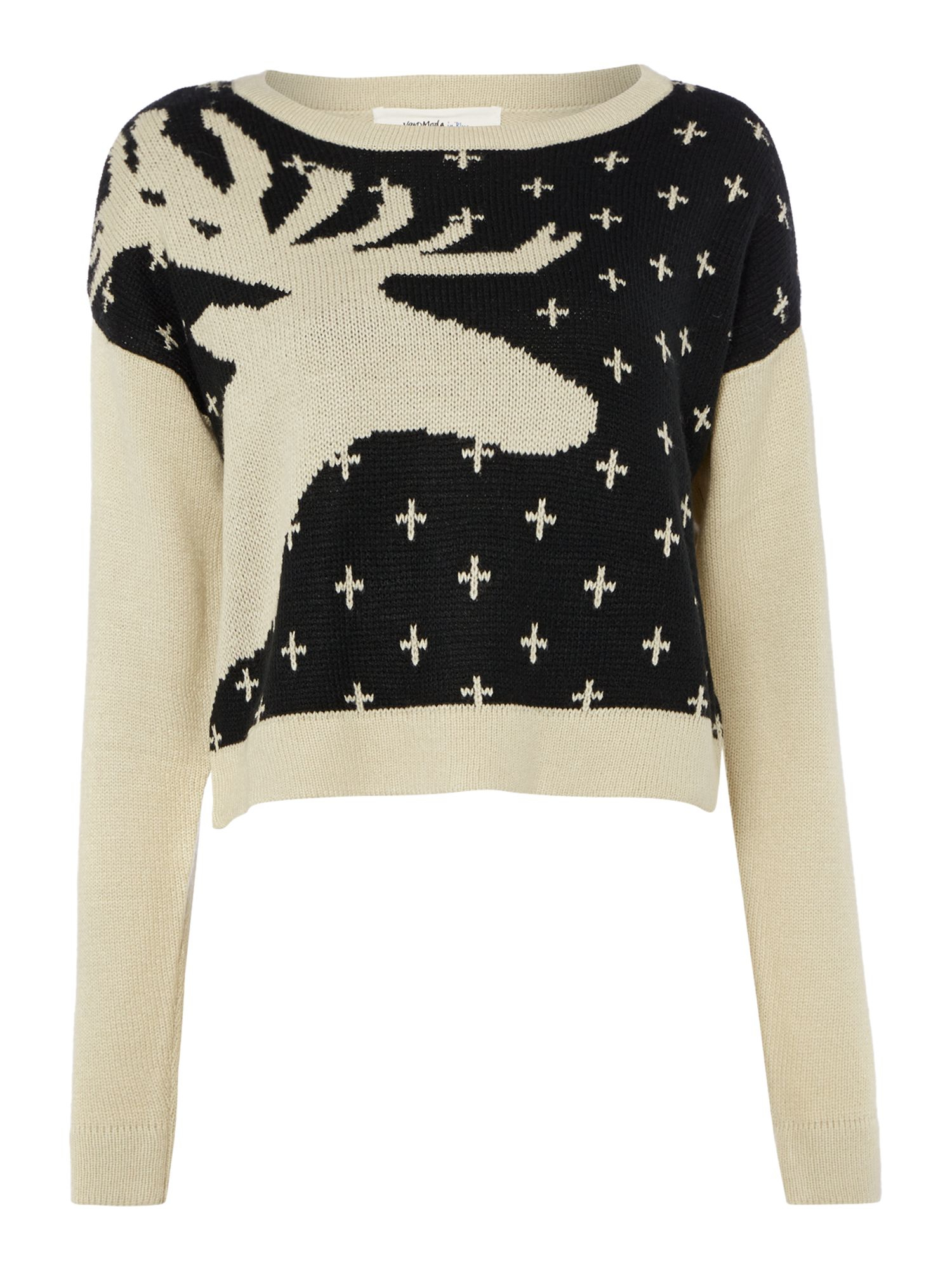 Vero Moda Knitting Yarns : Vero moda reindeer knit jumper in black lyst