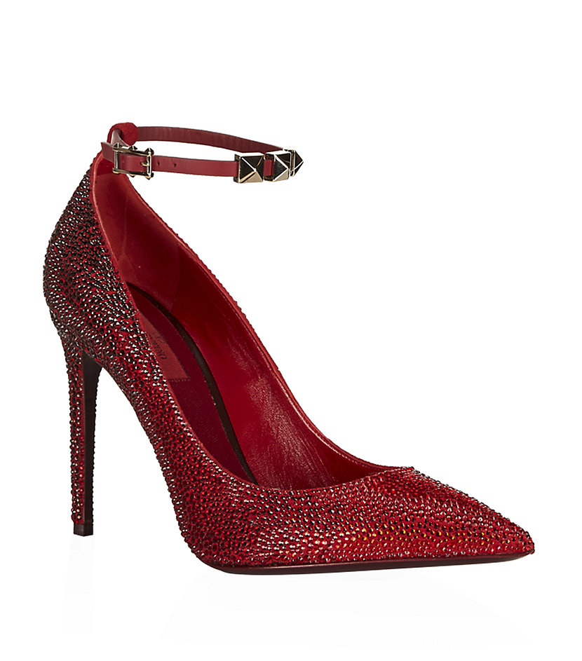 Valentino Beaded Leather Pump in Red