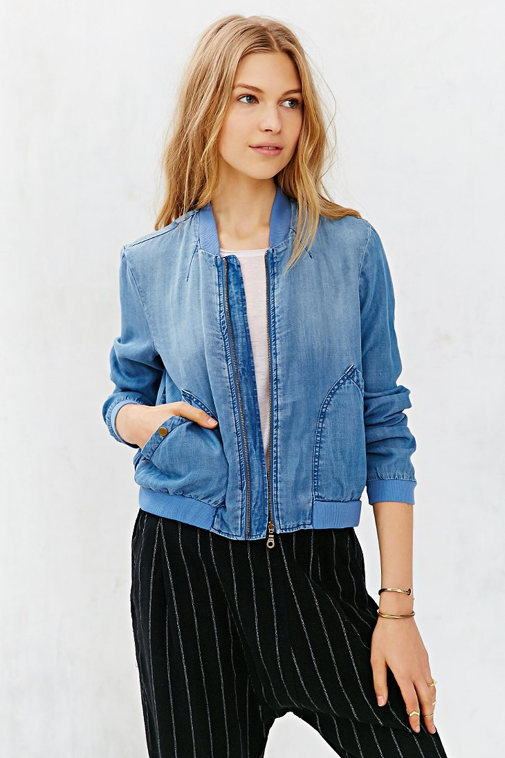 Lyst Bdg Chambray Drapey Bomber Jacket In Blue