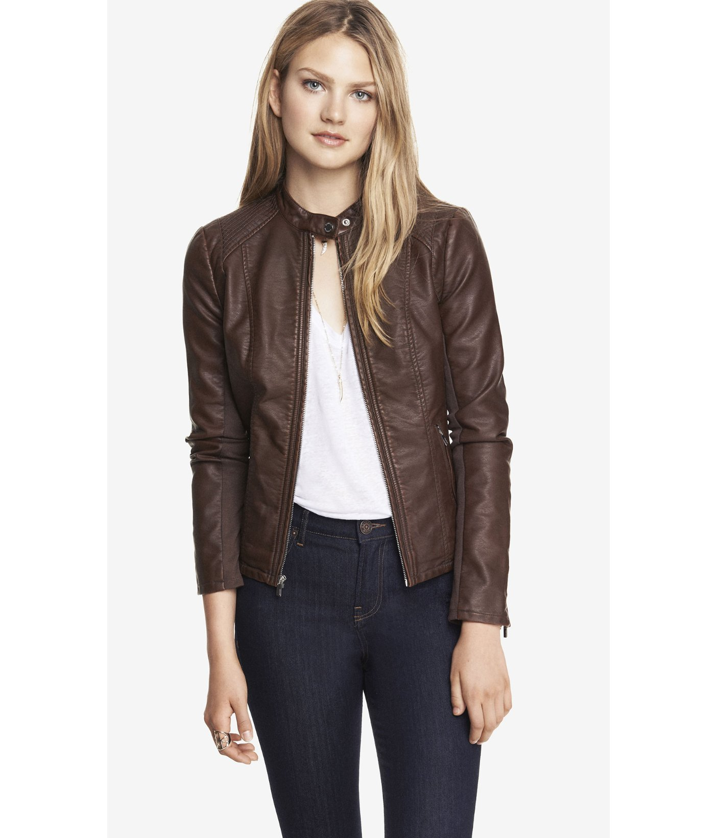 Express (Minus The) Leather Double Peplum Moto Jacket in Brown | Lyst