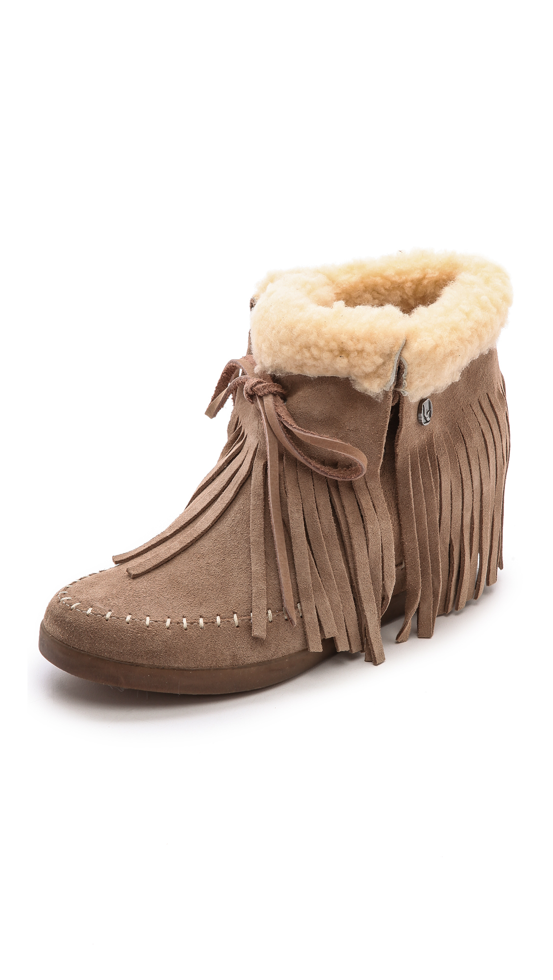 Lyst Koolaburra Fringe Moccasin Wedge Booties Stelle