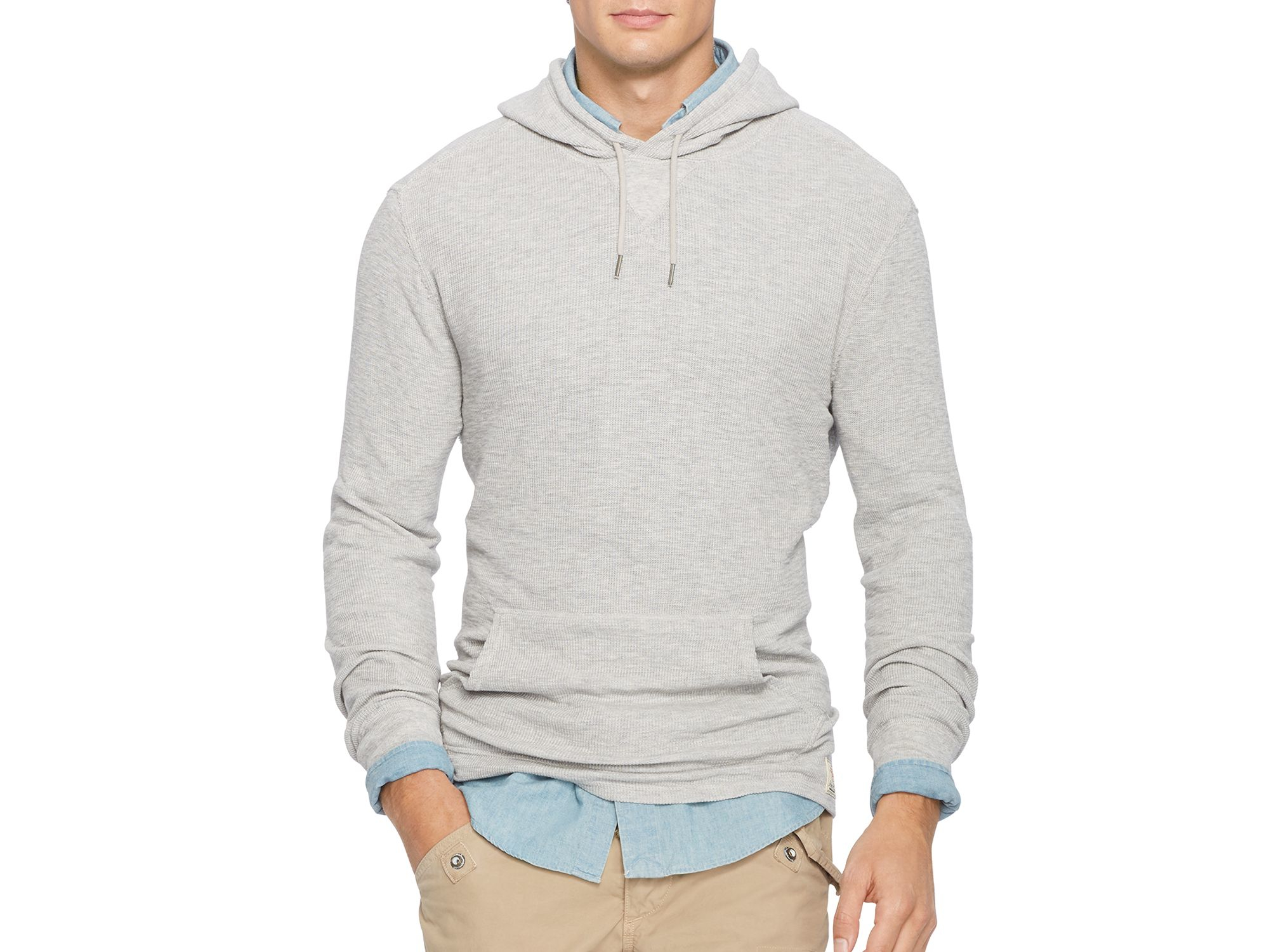 Lyst Pink Pony Polo Waffle Knit Hoodie In Gray For Men