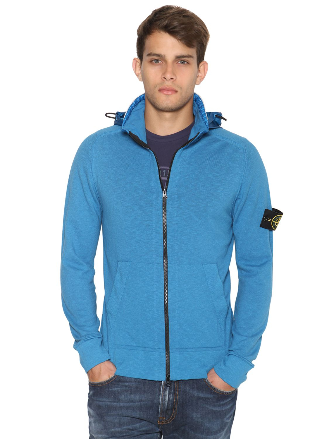 Lyst Stone Island Techno Cotton Knit Hooded Sweater In