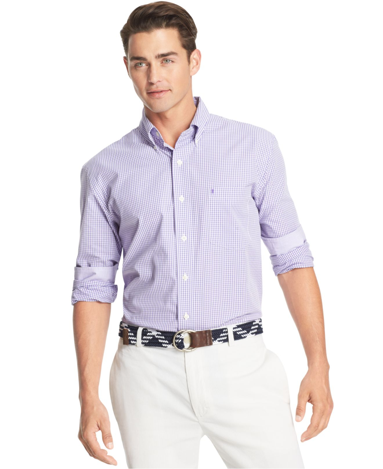 Izod gingham long sleeve shirt in purple for men lyst for Men s purple gingham shirt