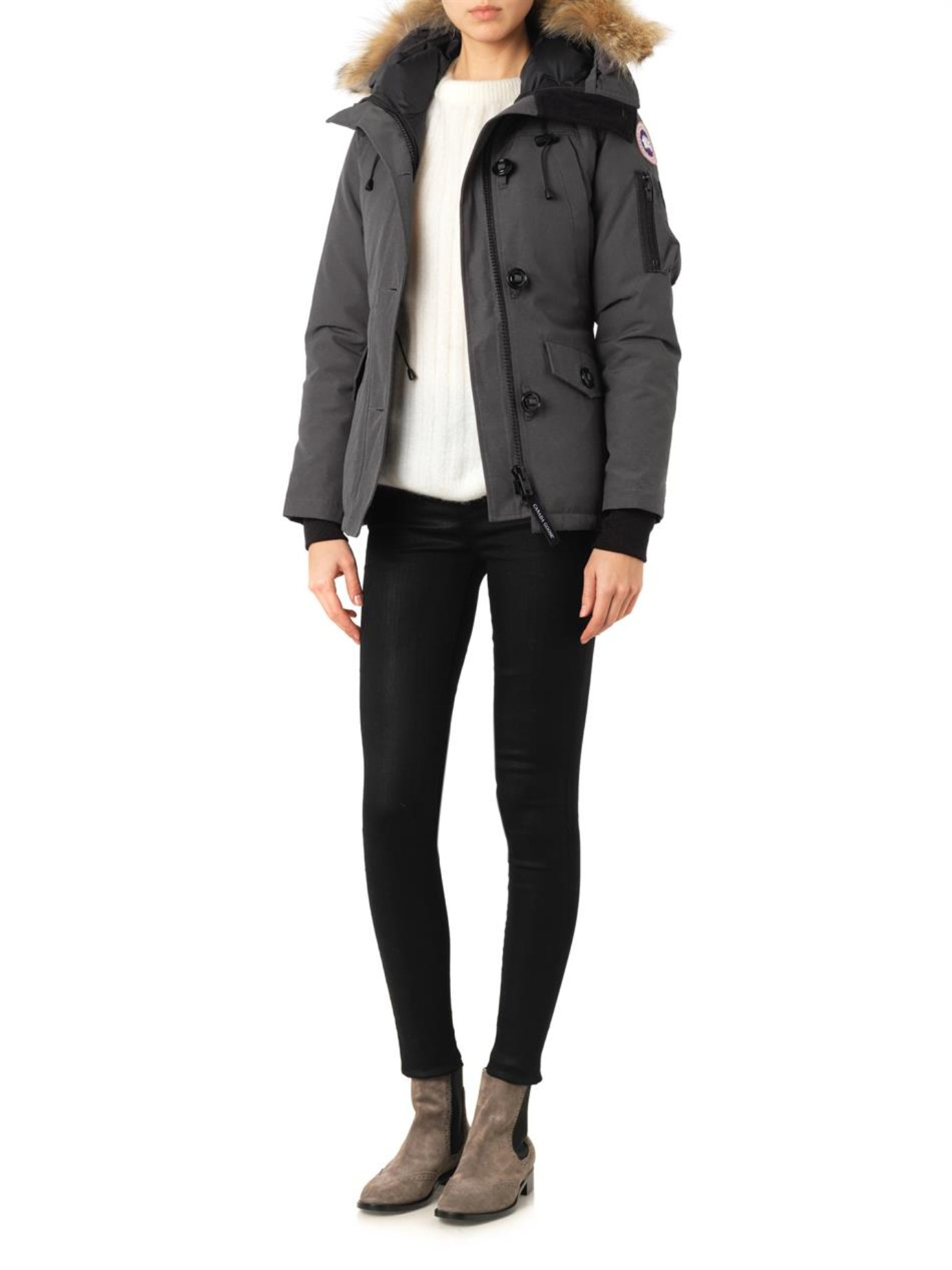 62d707364bf1 ... grey b0606 245b1  ireland canada goose montebello fur trimmed down  jacket in gray lyst e41ba 4d6db