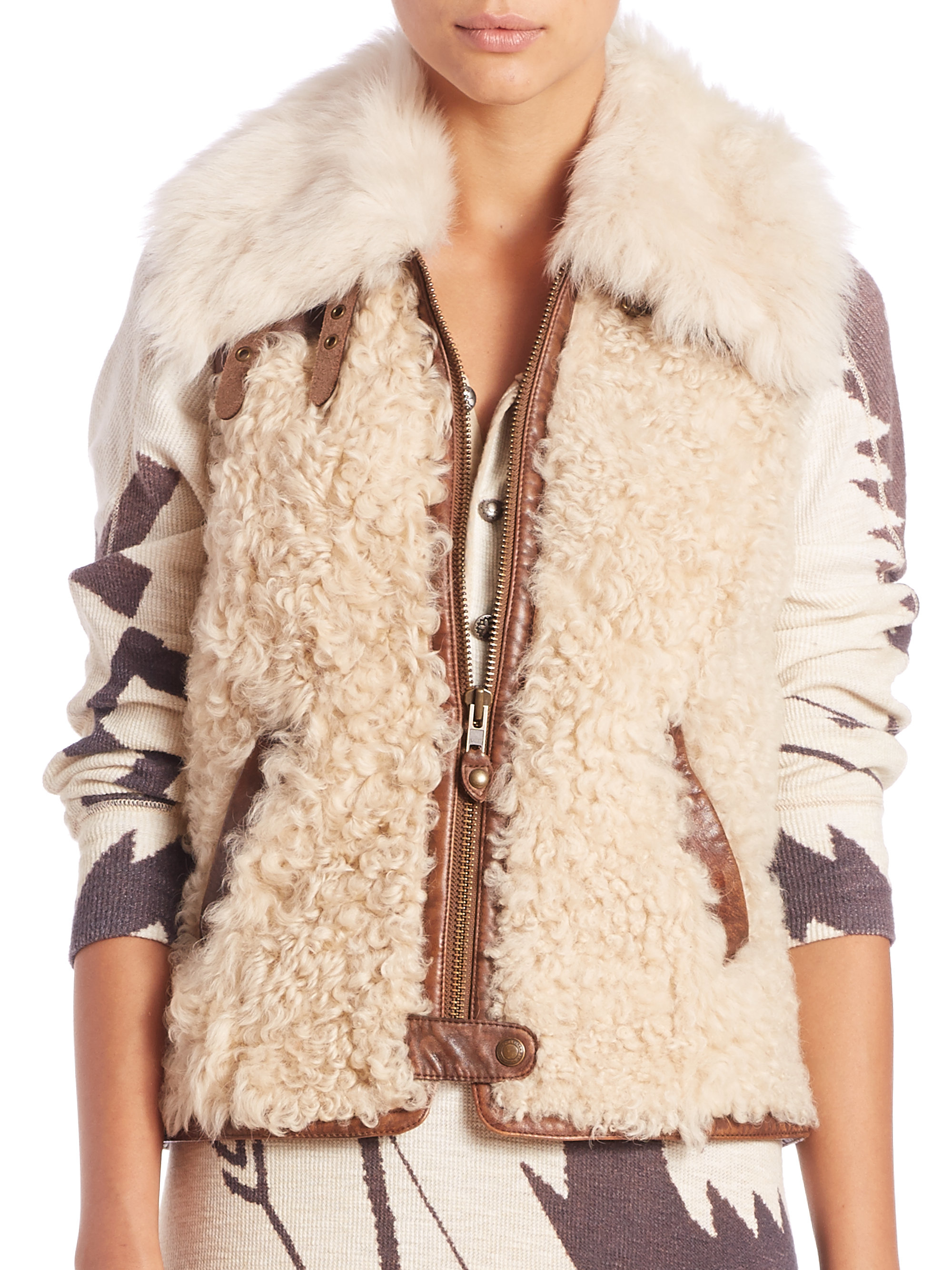Lyst - Polo Ralph Lauren Shearling Leather-trimmed Vest in Natural f894f87a25de3