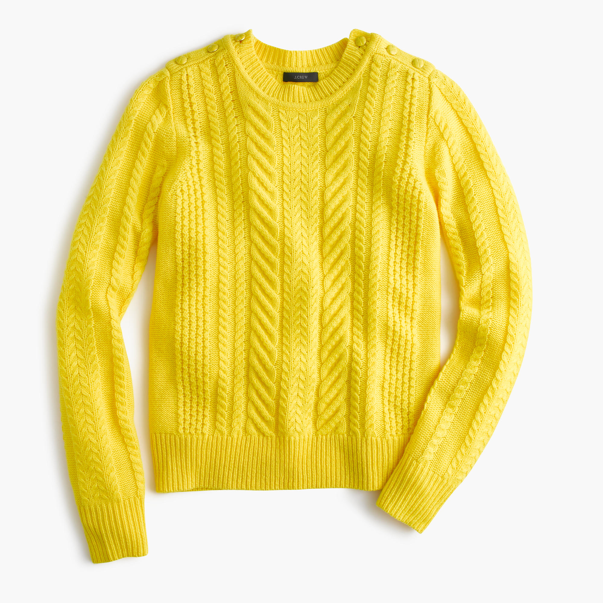 J.crew Petite Perfect Cable Sweater in Yellow | Lyst