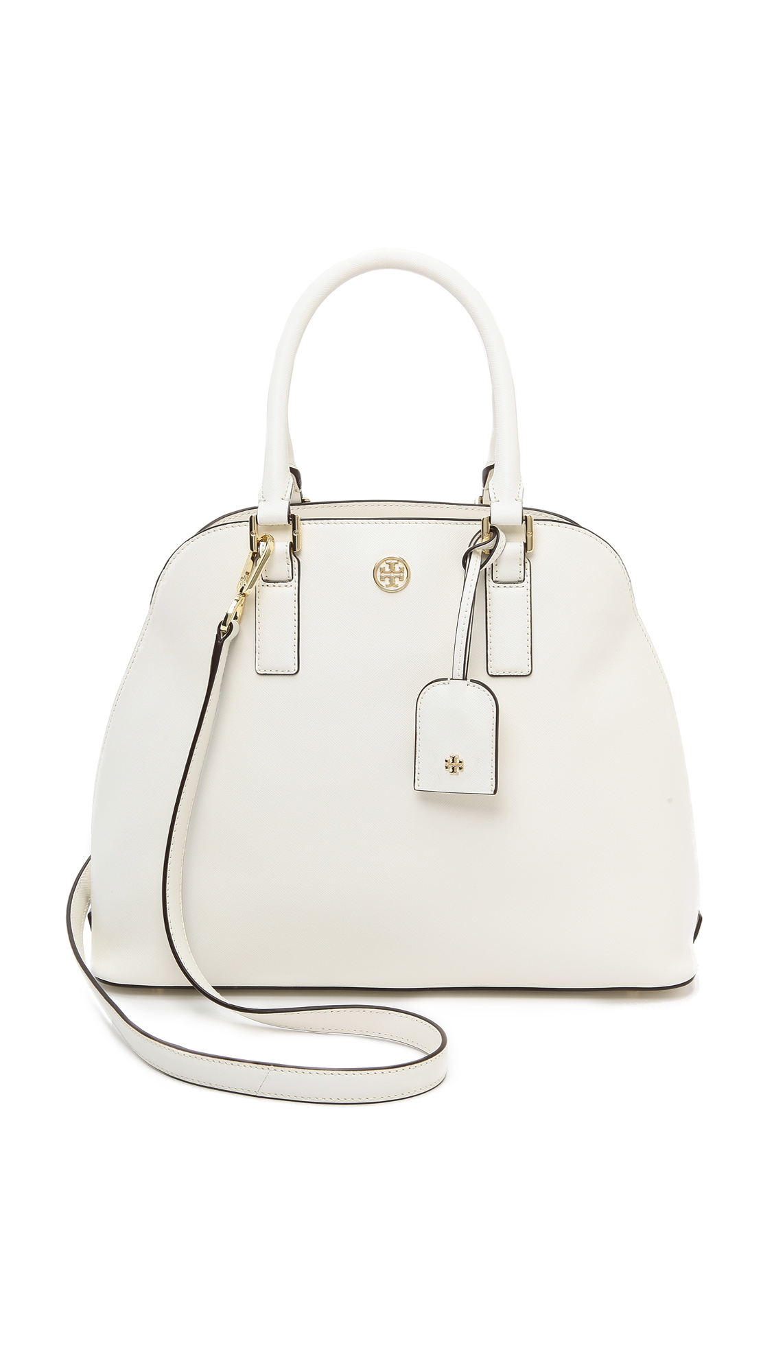 2288e21910dd Lyst - Tory Burch Robinson Open Dome Satchel in White