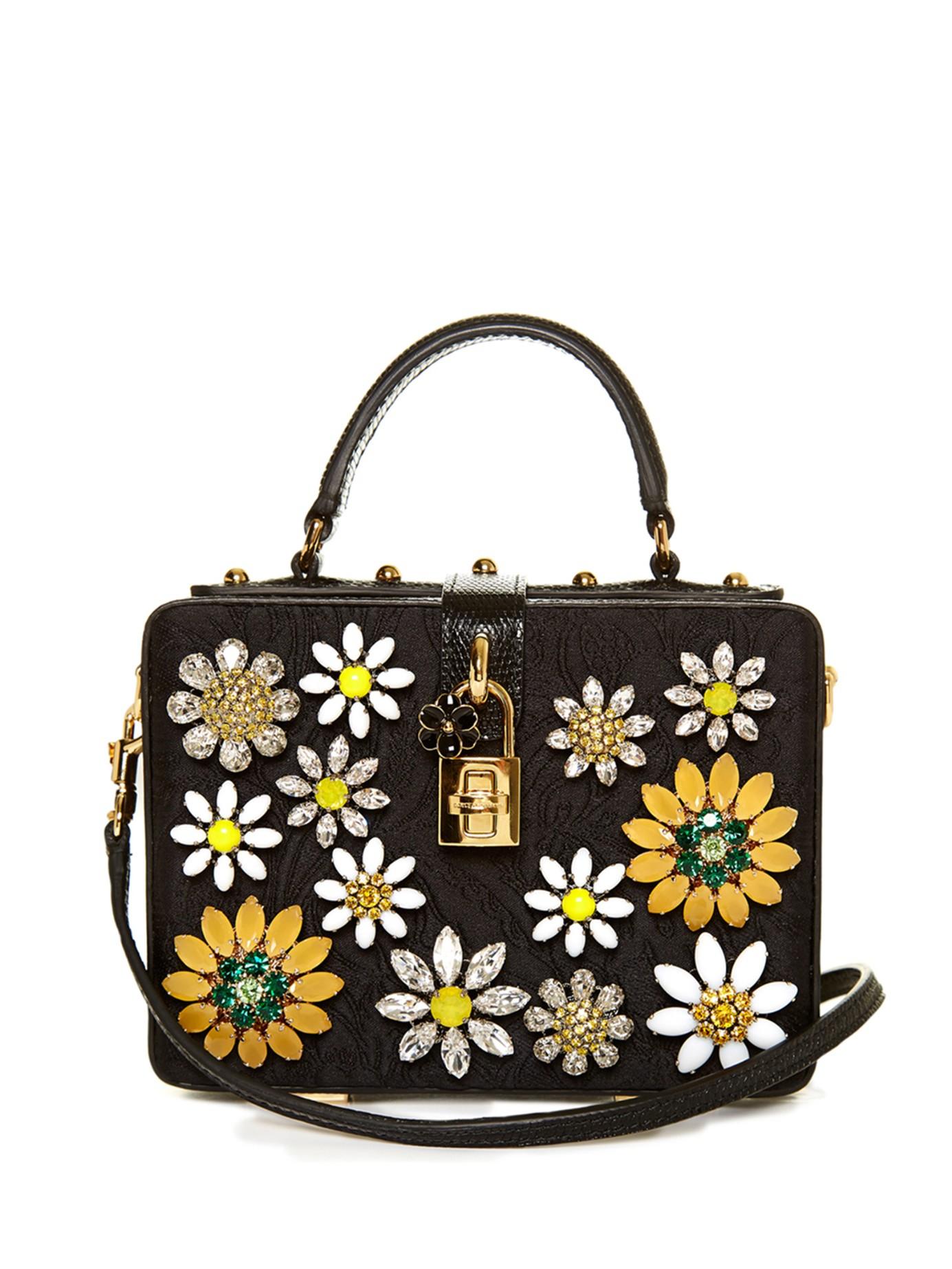 6c7611f941 Lyst - Dolce   Gabbana Dolce Flower-embellished Brocade Box Bag in Black