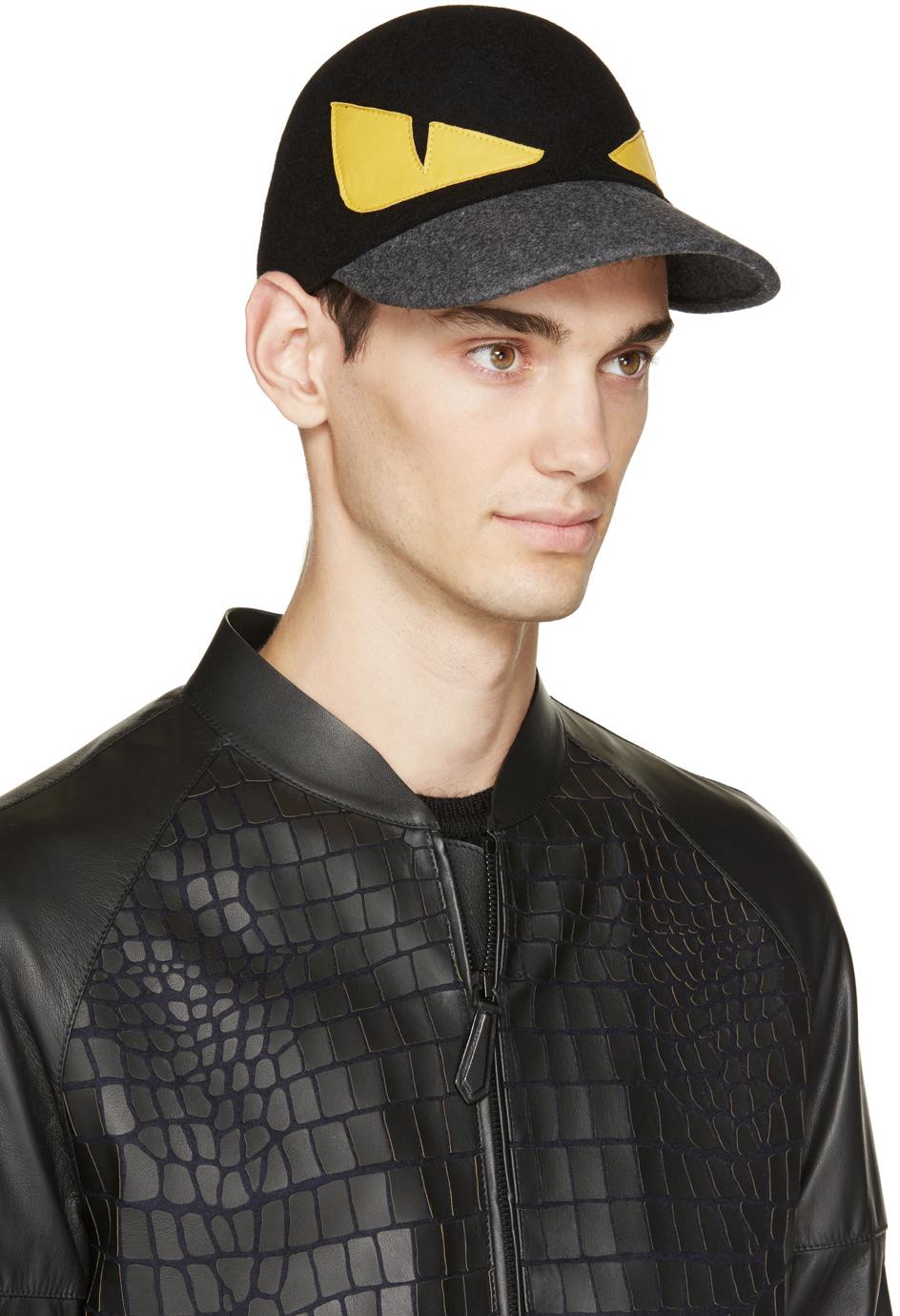 5aefc35b31893b Fendi Monster Wool Baseball Cap in Black for Men - Lyst