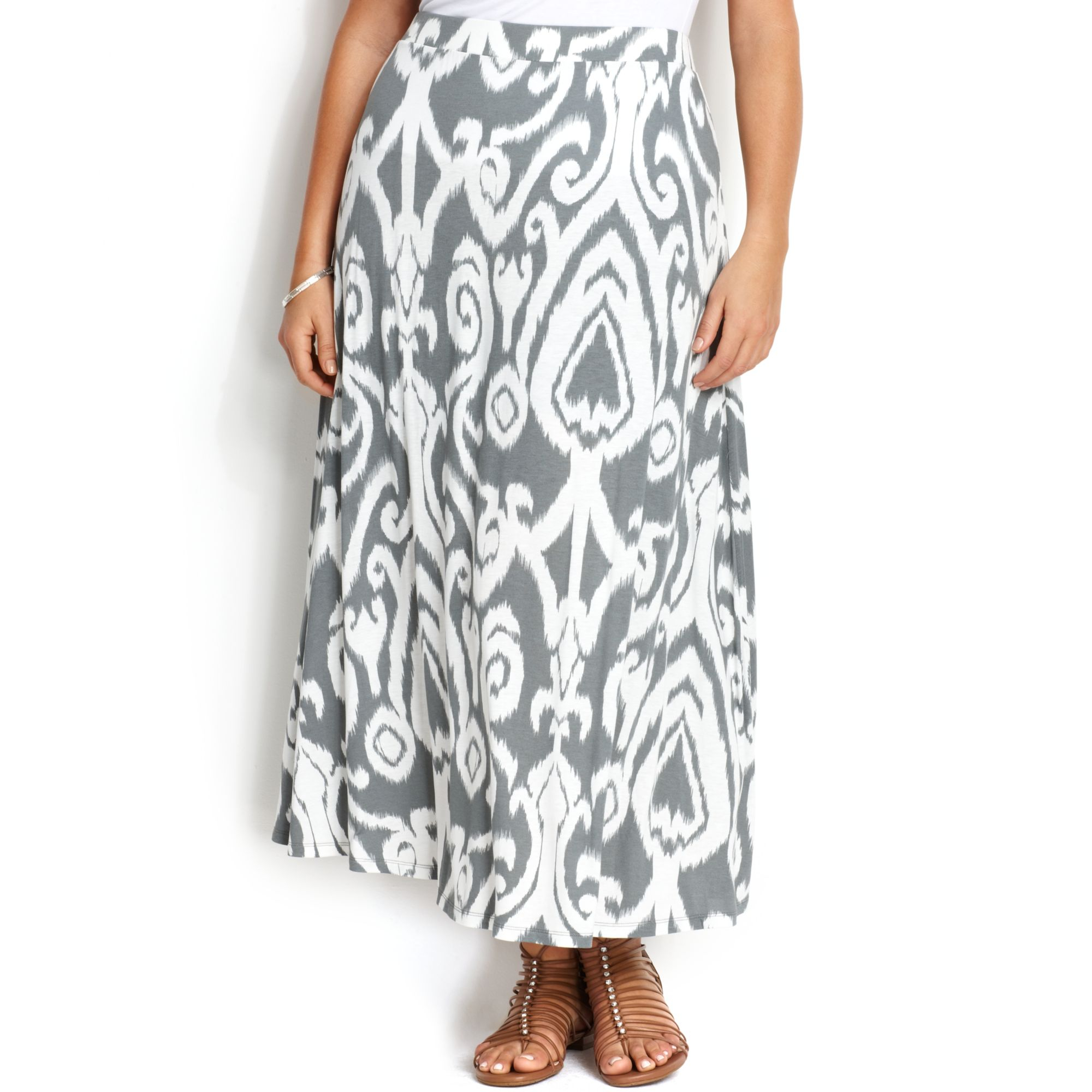 inc international concepts plus size printed maxi skirt in