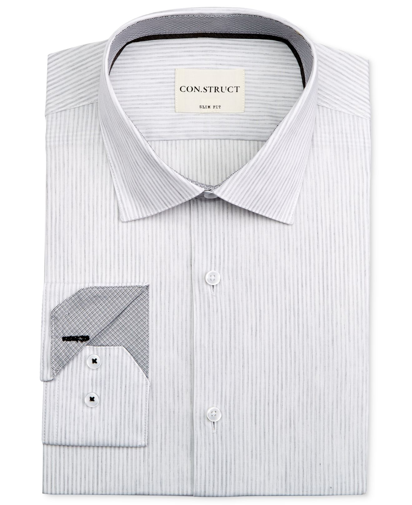 12a7a4253a Con.struct Men's Slim-fit Light Gray Striped Dress Shirt in Gray for ...