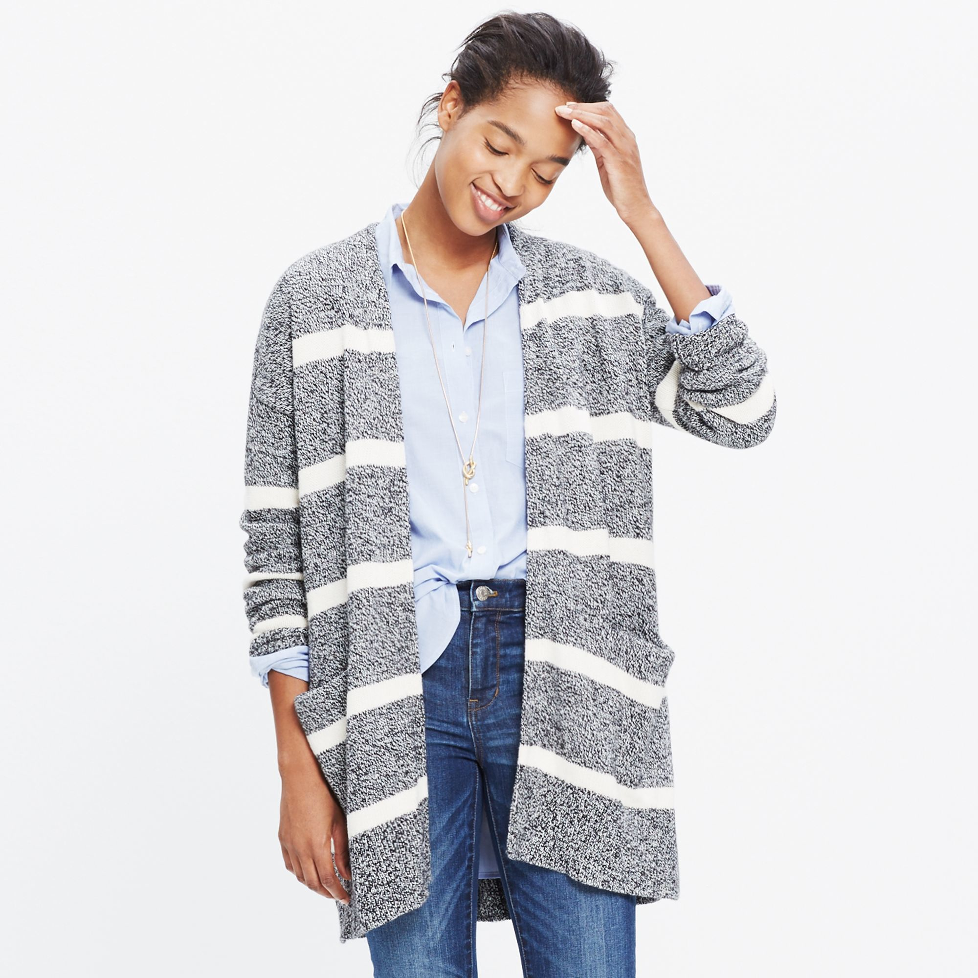 Madewell Striped Open Cardigan Sweater in Gray | Lyst