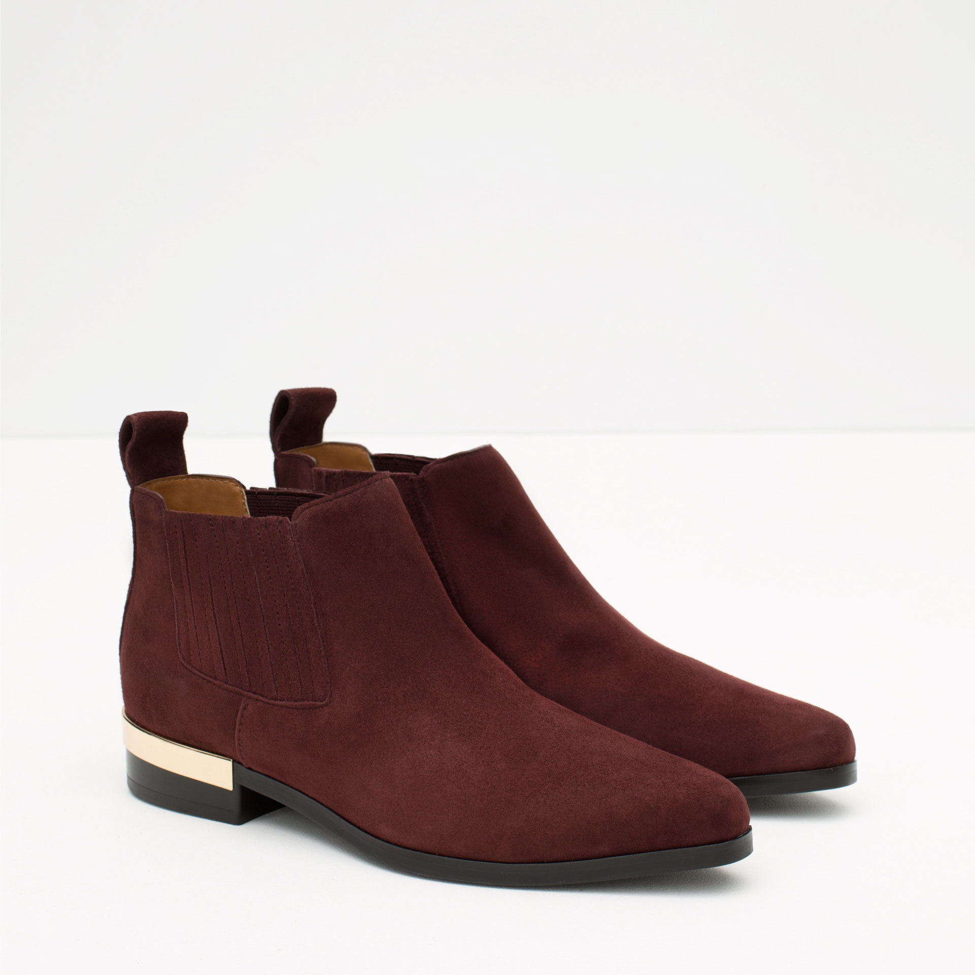 zara flat leather ankle boots with metal plaque in purple
